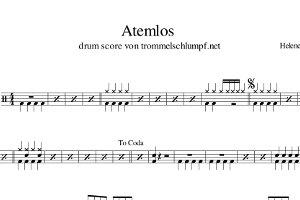 Schlagzeugnoten: Atemlos (durch die Nacht) - Helene Fischer