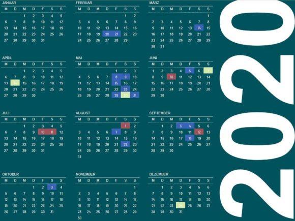 Kalender mit Terminen 2020. Stand Februar